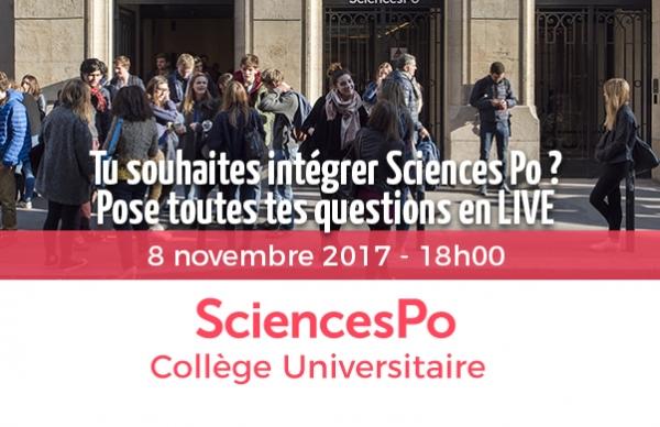 SciencesPo présente son programme Collège Universitaire le 8 novembre à 18h00 sur Campus-Channel